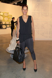 Isolde Brielmaier actually looked chic in her gray harem pants during day one of Art Basel Miami Beach.
