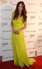 Minka Kelly wore a chartreuse chiffon evening dress to the Art of Elysium Gala.