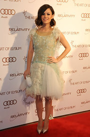 Rachel Bilson accented her fairy tale of a dress with a matching mint clutch.