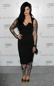 Kat Von D stepped out in an angular LBD for the Art of Elysium Heaven Gala.