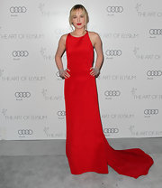 Dakota looked ravishing in red at the Art of Elysium Heaven Gala wearing this long trained silk gown.