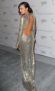 Ashley Madekwe stole the show at the Art of Elysium Heaven Gala in this silver backless gown.