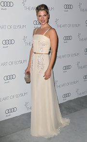 Ali looked heavenly in this cream gown with delicate embroidery—perfectly fitting for the Art of Elysium Heaven Gala.