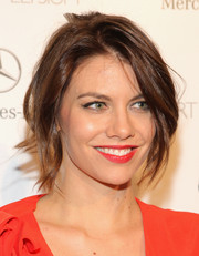 Lauren Cohan topped off her look with a messy-sexy updo when she attended the Art of Elysium's Heaven Gala.