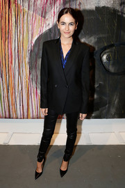 Camilla Belle rocked an oversized tux jacket and leather leggings at the Art of Elysium's Pieces of Heaven event.