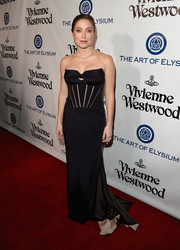 Sasha Alexander worked a black mesh-detail corset gown at the Heaven Gala.