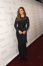 Camila Alves kept it classic and refined in a black Dolce & Gabbana lace column dress with a bowed sash during the Art of Elysium Heaven Gala.