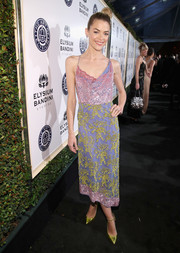Jaime King rounded out her colorful look with a pair of chartreuse ankle-strap pumps by Jimmy Choo.