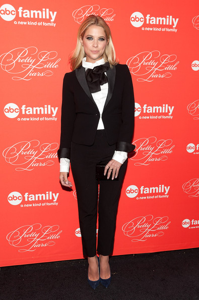 Ashley Benson Novelty Tie [pretty little liars,formal wear,red,suit,flooring,fashion model,fashion,tuxedo,carpet,little black dress,outerwear,ashley benson,new york city,ziegfeld theater,season finale screening,season finale screening]