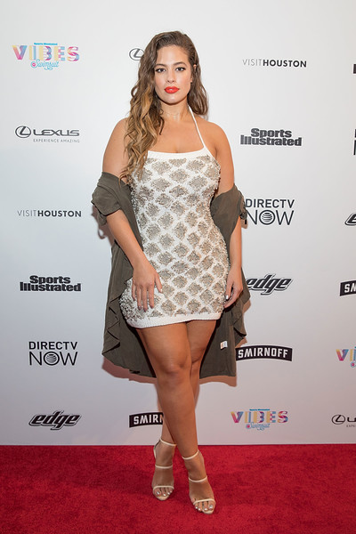 Ashley Graham Halter Dress [si swimsuit,clothing,shoulder,dress,cocktail dress,fashion model,hairstyle,red carpet,fashion,joint,carpet,swimsuit 2017,ashley graham,vibes,houston,texas,sports illustrated,swimsuit 2017 launch festival,launch festival]