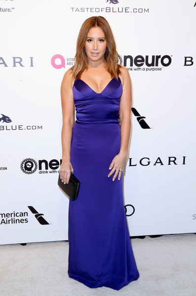 Ashley Tisdale Leather Clutch [cobalt blue,dress,clothing,fashion model,shoulder,electric blue,carpet,cocktail dress,fashion,hairstyle,arrivals,ashley tisdale,west hollywood park,california,the city,elton john aids foundation,oscar viewing party,academy awards viewing party]