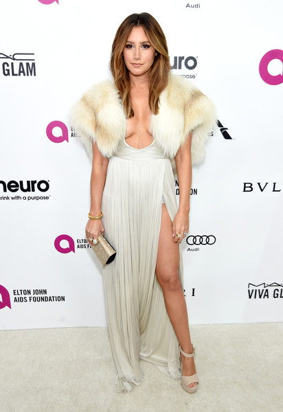 Ashley Tisdale Platform Sandals [red carpet,fashion model,clothing,dress,skin,fashion,shoulder,pink,hairstyle,red carpet,long hair,ashley tisdale,west hollywood park,california,the city,elton john aids foundation,oscar viewing party]