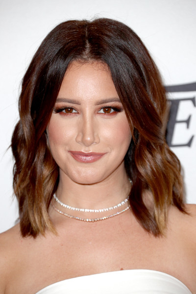 Ashley Tisdale Medium Wavy Cut [hair,face,hairstyle,eyebrow,shoulder,chin,brown hair,layered hair,hair coloring,lip,variety,power of women,los angeles,beverly hills,california,beverly wilshire four seasons hotel,ashley tisdale,arrivals]