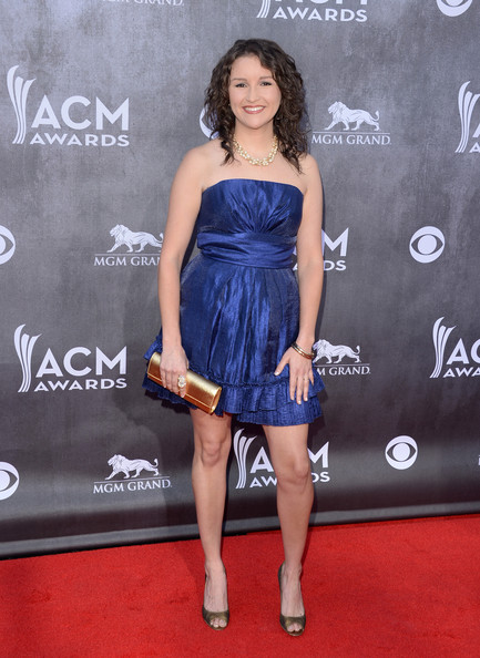 Ashton Shepherd Metallic Clutch [dress,clothing,shoulder,strapless dress,cocktail dress,carpet,premiere,fashion,joint,red carpet,arrivals,ashton shepherd,nevada,las vegas,mgm grand garden arena,academy of country music awards]