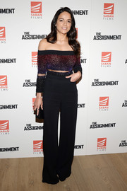 Michelle Rodriguez got glam in a sparkly ombre off-the-shoulder top by Pamella Roland for the New York screening of 'The Assignment.'