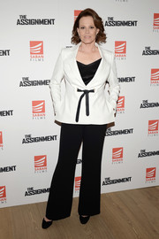 Sigourney Weaver paired a belted white blazer with black pants for the New York screening of 'The Assignment.'