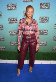 Amandla Stenberg was menswear-chic in a printed button-down shirt at the Atlanta junket for 'Everything, Everything.'