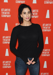 Sarah Silverman kept it casual and simple in a black crewneck sweater at the Atlantic Theater Company 2019 Gala.