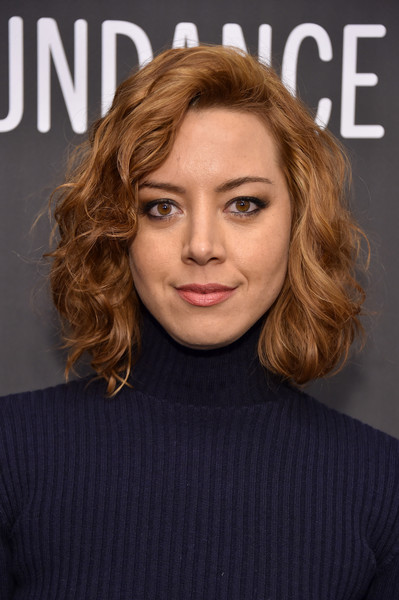 Aubrey Plaza Short Curls [hair,face,hairstyle,eyebrow,chin,blond,lip,layered hair,beauty,brown hair,aubrey plaza,the little hours,utah,park city,library center theater,sundance film festival,premiere]