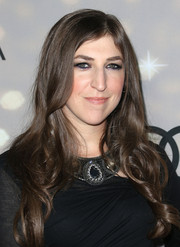 Mayim Bialik attended the Emmy kick-off party wearing a flowing wavy 'do.
