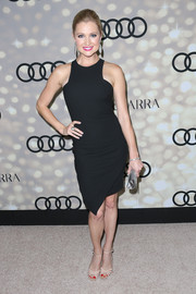 Katherine Bailess looked effortlessly stylish at the Emmy kickoff party in a sleeveless little black dress with an asymmetrical hem.