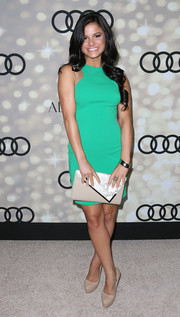 Courtney Galiano's nude platform pumps and green halter dress were a simple yet flawless pairing.