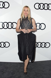Piper Perabo complemented her dress with black mesh pumps.