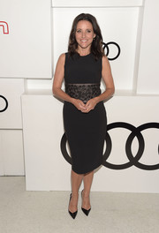 Julia Louis-Dreyfus attended Audi's celebration of Emmys week wearing a little black dress with an embellished midsection.