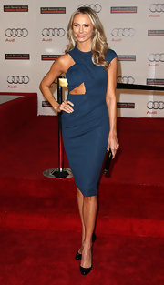 Stacy Keibler wore this navy cutout dress to the Audi celebration in Beverly Hills.