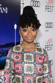 Skai Jackson rocked a massive top knot with curly bangs at the AFI Fest premiere of 'La La Land.'