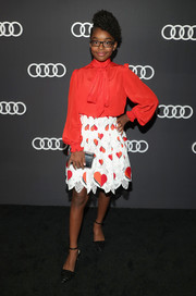 Marsai Martin completed her outfit with black ankle-strap pumps.