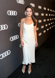 Danielle Campbell was classic and sultry in a white slip dress during Audi's celebration of the Emmys.