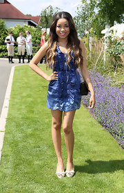 Dionne Bromfield looked adorable in a blue ruffled mini dress at the Audi International Polo event.