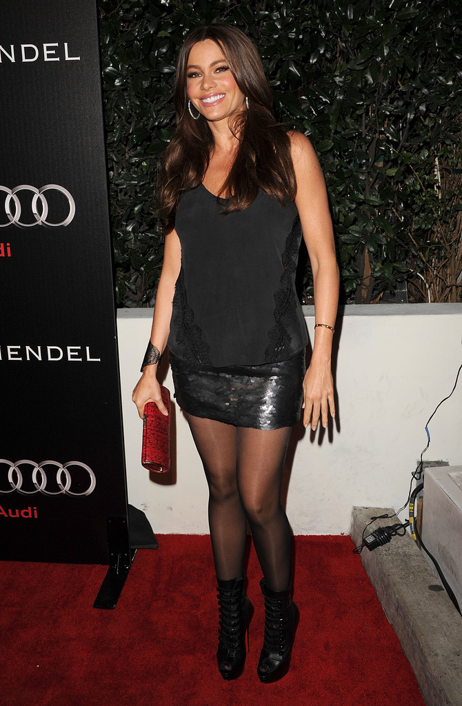 Actress Sofia Vergara  arrives at Audi and Designer J. Mendel's Kick Off Celebration of Golden Globe Week 2011 at Cecconi's Restaurant on January 9, 2011 in Los Angeles, California.