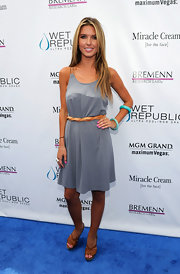 Audrina Patridge complemented her laid back look with brown leather platform sandals.