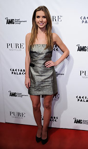 Audrina Patridge hosted an event at Pure Nightclub in black platform pumps.