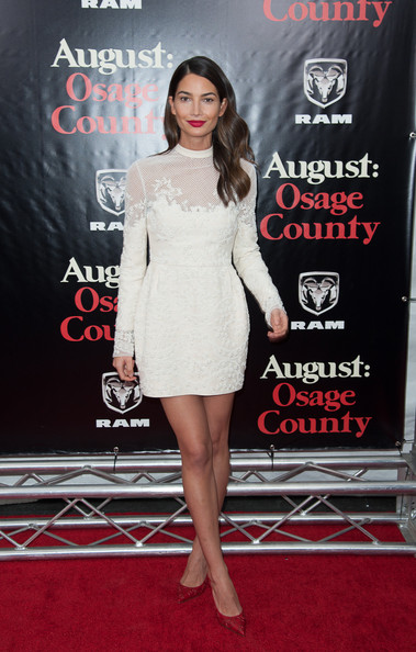 More Pics of Lily Aldridge Mini Dress (1 of 6) - Dresses & Skirts Lookbook - StyleBistro [august: osage county,clothing,dress,shoulder,cocktail dress,premiere,red carpet,carpet,joint,fashion,fashion model,red carpet,lily aldridge,new york,ziegfeld theater,premiere]