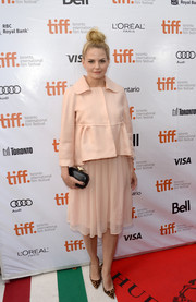 Jennifer Morrison went for a retro appeal with this pink skirt suit when she attended the 'August: Osage County' premiere.
