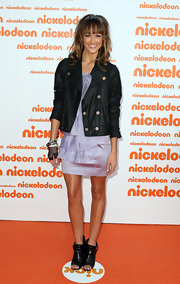 Sharni wore a black leather jacket over her girly lilac frock for the Nicelodeon Kids' Choice Awards.