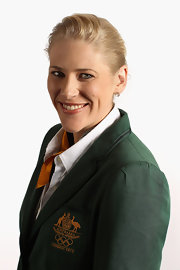 Lauren Jackson wore her hair in a classic bun for the Australian Olympic athletes' portrait session.