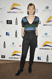 Mia Wasikowska finished her casual look with black patent brogues.