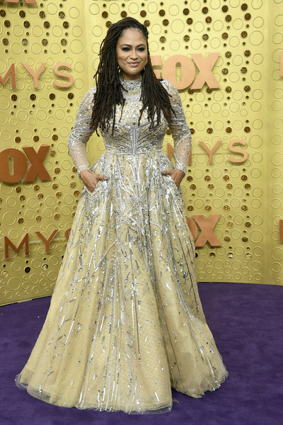 Ava DuVernay Beaded Dress [clothing,red carpet,dress,carpet,fashion model,fashion,gown,formal wear,haute couture,flooring,arrivals,ava duvernay,emmy awards,microsoft theater,los angeles,california]