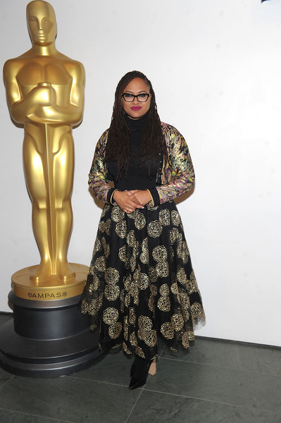 Ava DuVernay Cropped Jacket [sculpture,statue,bronze sculpture,metal,art,figurine,outerwear,bronze,ava duvernay,official academy screening of a wrinkle in time,moma - celeste bartos theater,new york city,academy of motion picture arts sciences]