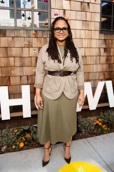 Ava DuVernay Suede Jacket [clothing,photograph,street fashion,fashion,yellow,eyewear,snapshot,footwear,outerwear,trench coat,los angeles,california,national day of racial healing,national day of racial healing at array,ava duvernay]