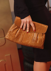 A regal croc-skin clutch lent Barbara's LBD exotic elegance.