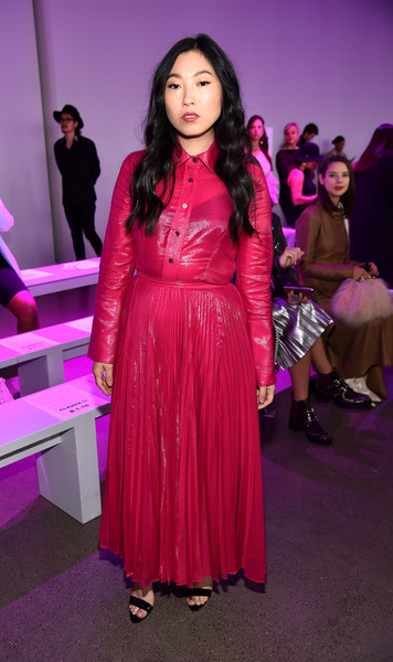 Awkwafina Button Down Shirt [shows,pink,beauty,flooring,dress,lady,magenta,girl,fashion model,fashion,carpet,claudia li,awkwafina,claudia li front row,front row,new york city,spring studios,new york fashion week,the shows at gallery ii]