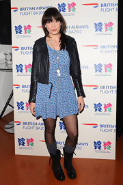 Daisy Lowe channeled the '90s in this floral summer dress and moto jacket.