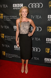 Cat Deeley chose a to-die-for strapless dress with a lace bodice and a slim skirt for the BAFTA LA TV Tea.