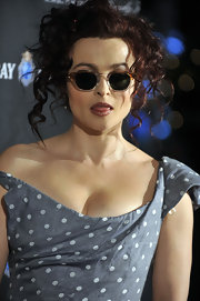 Helena Bonham Carter turned heads in vintage Oliver Peoples Sheldrake sunglasses.