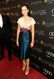 Sophie Winkleman donned a colorful satin dress at the BAFTA Tea Party.